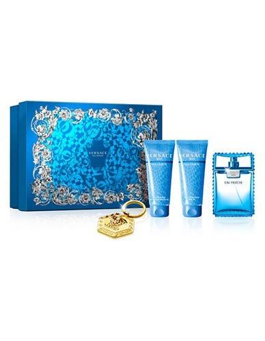 29ca803ee68d 4 Piece Gift Set  3.4 Oz Eau De Toilette Spray + 3.4 Oz Aftershave Balm +  3.4 Oz Shower Gel + Versace Keychain. For Men